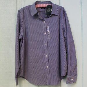 *572 Lauren Ralph Blue Bengal Stripe Dress Shirt